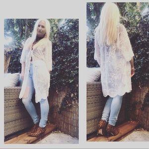 Romantic White Lace Cardigan